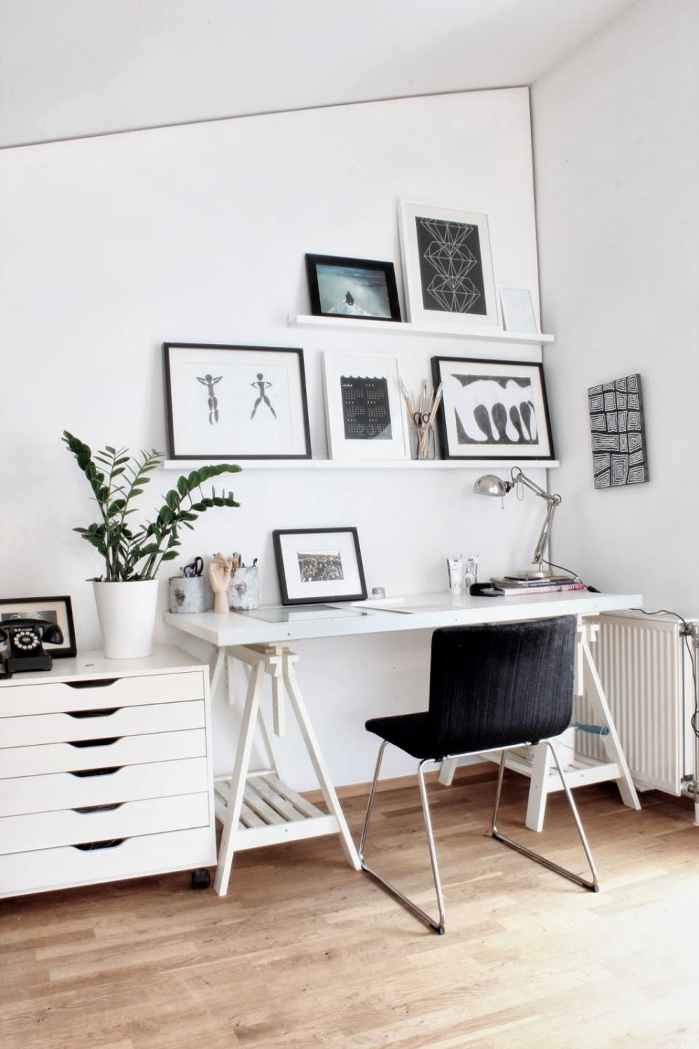 Interior Exquisite Home Office Images From Scandinavian Design Blogs Using White Wooden Wall